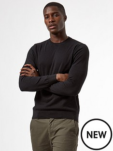 burton-menswear-london-fine-gauge-crew-neck-jumper-black