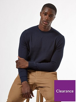 burton-menswear-london-fine-gauge-crew-neck-jumper-navy