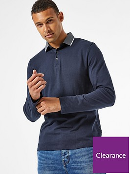 burton-menswear-london-jacquard-collar-long-sleeve-polo-shirt-navy