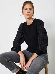 mint-velvet-burnt-out-woven-puff-sleeve-jumper-black
