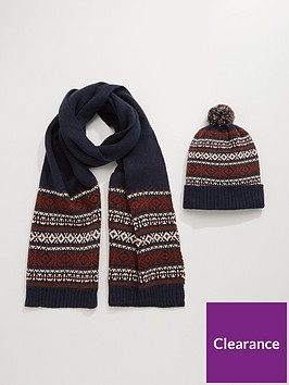 burton-menswear-london-fairisle-beanie-and-scarf-set-navy
