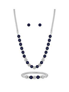 jon-richard-bliss-silver-plated-navy-pearl-crystal-ball-three-piece-jewellery-set