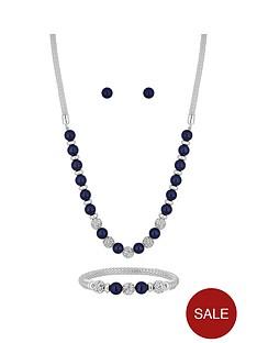 jon-richard-bliss-silver-plated-navy-pearl-crystal-ball-three-piece-jewellery-set
