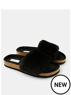 accessorize-nbspluxe-faux-fur-slider-with-cork-base-black