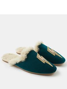 accessorize-embellished-lightning-bolt-mule-slippers-teal