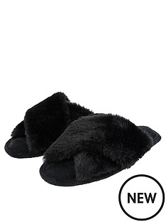 accessorize-luxe-faux-fur-slider-slippers-black