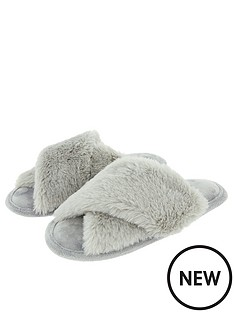 accessorize-luxe-faux-fur-slider-slippers-grey