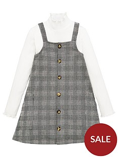 v-by-very-girls-2-piecenbspcheck-pinafore-dressnbspand-roll-neck-top-set-multi