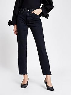 river-island-high-waist-straight-leg-jean-black