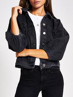 river-island-cinched-waist-denim-jacket-black