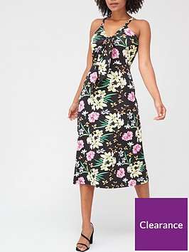 v-by-very-tie-front-midi-dress-floral-print