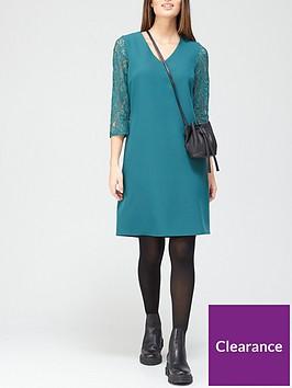 v-by-very-v-neck-lace-sleeve-dress-greennbsp