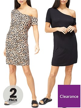 v-by-very-2-pack-off-the-shoulder-tunic-blackanimal
