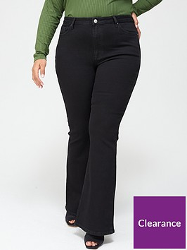 v-by-very-curve-high-waisted-flare-jean-black