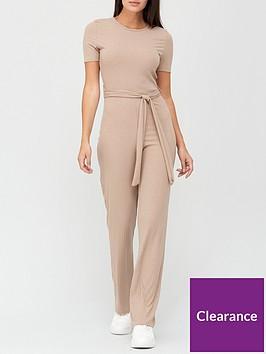 missguided-missguidednbsprib-short-sleeve-flare-leg-jumpsuit-stone