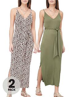 v-by-very-2-pack-strappy-midi-dress-animalkhaki