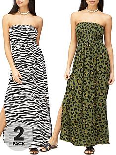 v-by-very-2-pack-shirred-bandeau-maxi-dress-multi