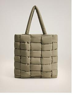 mango-crosshatch-nylon-tote-bag-khaki