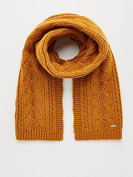 superdry-lannah-cable-scarf-ochre