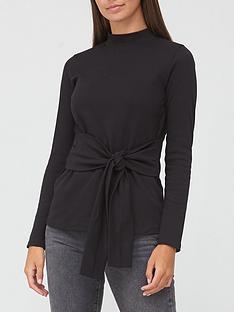 v-by-very-long-sleeve-sweat-tie-waist-tunic-black