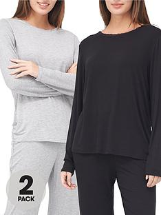 v-by-very-valuenbspmix-amp-matchnbsp2-packnbsplace-trim-long-sleeve-top-greyblack