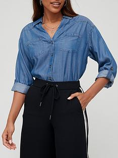 v-by-very-valuenbspsoft-touch-denim-casual-shirt-dark-wash