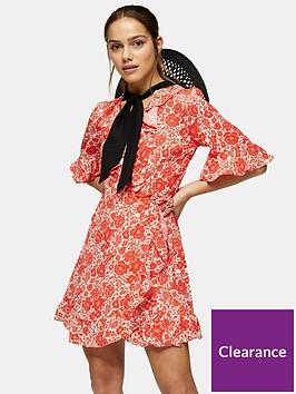 topshop-floralnbspmini-wrap-dress-red