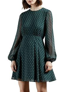 ted-baker-long-sleeve-heart-print-mini-dress-green