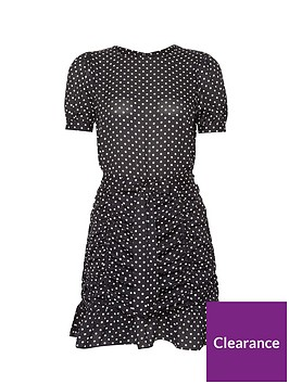 dorothy-perkins-dalmatian-ruched-mini-dress-black