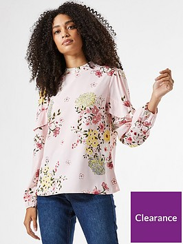 dorothy-perkins-floral-tiered-sleeve-top-blushnbsp
