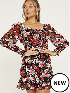 quiz-chiffon-floral-frill-bodycon-dress-red