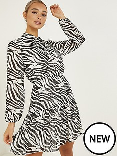 quiz-zebra-printnbsppussybow-necknbspfrill-dress-black