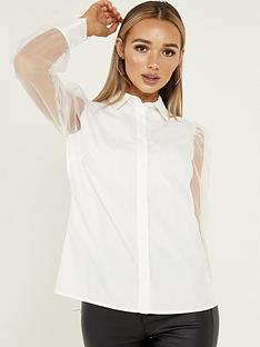 quiz-shirt-with-puff-organza-sleeve-white