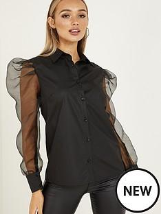 quiz-button-through-organza-sleeve-shirt-black