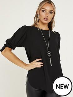 quiz-bubble-crepe-tie-sleeve-necklace-top-black