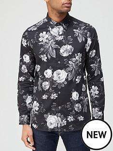 ted-baker-eacuteclair-floral-monochrome-print-shirt-black
