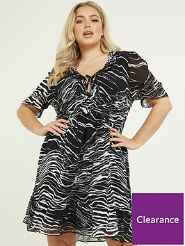 quiz-curve-zebra-print-shortnbspsleeve-frill-detail-dress-black