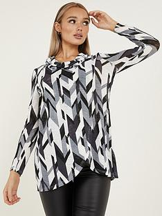 quiz-light-knit-abstract-cowl-neck-long-sleeve-asymmetric-top-blackgreycreamnbsp