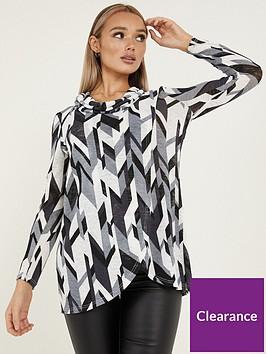 quiz-light-knit-abstract-cowl-neck-long-sleeve-asymmetric-top-blackgreycreamnbsp