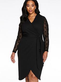 quiz-curve-polka-dot-mesh-wrap-midi-dress-black