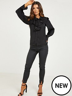 quiz-satin-pussybow-long-sleeve-top-black