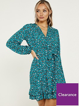 quiz-leopard-crepe-long-sleeve-frill-dress-teal