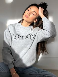 michelle-keegan-embroidered-slogan-sweater-grey-marl