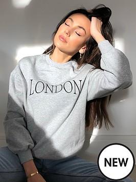 michelle-keegan-embroidered-slogan-sweater-grey-marl