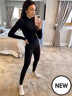 michelle-keegan-ruched-sleeve-fitted-top-black