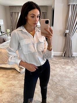 michelle-keegan-utility-casual-tencel-shirt-white