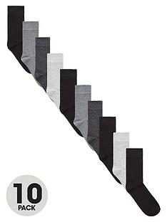 very-man-fresher-for-longernbsp10-pack-plain-socks-monochrome