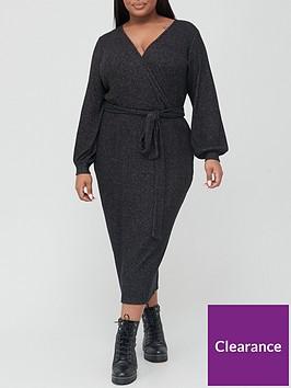 v-by-very-curve-soft-rib-wrap-dress-charcoal