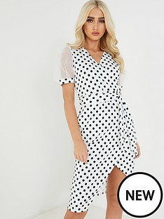 quiz-spot-midi-wrap-dress-creamblack