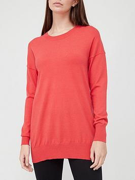 v-by-very-crew-neck-longline-knitted-jumper-coral